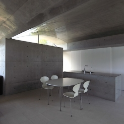 """House in Sunami "" by japanese architect Kazunori Fujimoto. Near Hiroshima, this concrete house is opened to the sky and to the landscape."