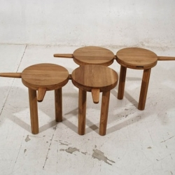 'Pinocchio' stool by lithuanian designers from onetwo. A tiny wooden modular stool inspired by Carlo Collodi, creator of Pinocchio.
