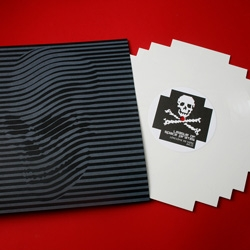 8-bit custom die-cut vinyl record with limited edition letterpress print package by Skull-A-Day's Noah Scalin for League of Space Pirates.