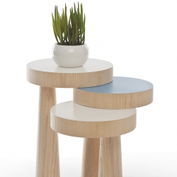 'Toad' side table by Philipp Beisheim is an exploration in creating new forms by adding stability to an object.