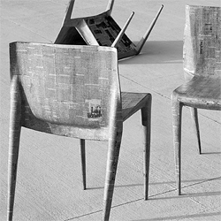 Papier-mâché stacking chairs, by Stefan Gougherty while at the Rhode Island School of Design.