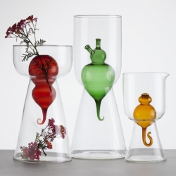 'Bulbovetro' vases by Valentina Carretta and Fabrica for Secondome Gallery. Three organic shaped vases made from white and colored glass and can also be used as oil lamps.