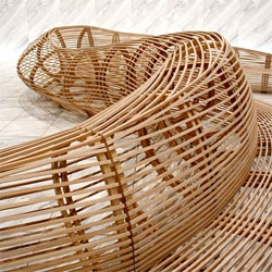 Frank Gehry designed the visitors bench for the World Company building in Tokyo.