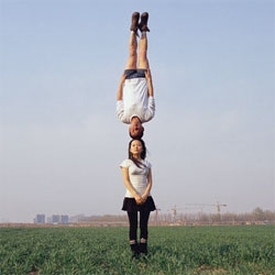 Li Wei is a Chinese photographer who creates crazy, gravity-defying images - without digital manipulation! He apparently uses mirrors, wires and scaffolding to create his work.
