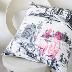 A Toile de Jouy Shoes pillow by Anne Hubert.