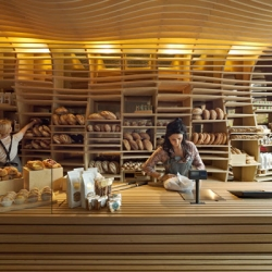 Baker D Chirico, a bakery that is designed to look like a bread basket in Melbourne.