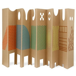 A corrugated pressboard wall by Enzo Mari - ten panels with different decorations, perforations and shapes to enhance a kid's playtime.