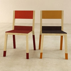 Luis Porem's Trico Chair - made from three materials (wood, metal and textile) in three colors.