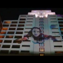 The InterContinental Hotel in Century City, CA, now  showcasing the work of artist Kime Buzzelli on the  facade of the 17-story hotel using  video projections that can be seen as far away as Santa Monica. Terrific use of guerrilla marketing.