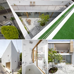 Takeshi Hosaka's incredible Garden House merges indoor with outdoor, incorporating an enclosed, two-story courtyard within the confines of the perimeter walls.