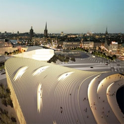 Love the solution by BIG Architects and NOD Landscape Architects to revamp the Slussen area of Stockholm - providing pedestrian and bike access over what is now a very busy intersection. A huge, terraced sitting area is just part of the project.