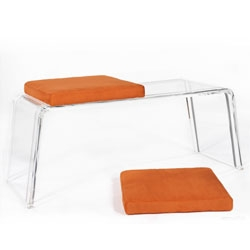 The ICE bench, by Madelen Schelin - a Plexiglas base with faux-suede cushions, available in ten different colors.