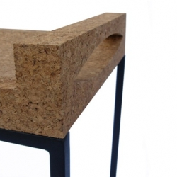 CUT(C) stool by londonian designers from Lambria Design. A seat made from reclaimed cuts of crushed cork.