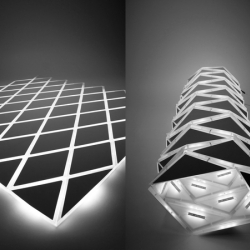 This experiment of light was created using LED technologies and unique transformable constructions.