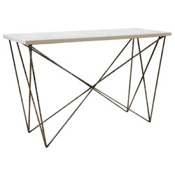 The George Console by Oly Studio has an Eiffel-tower-like metal base with the option of a resin or shell top.
