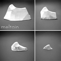 Skeet Wang's Meltain eraser - an eraser that reminds us of the significant effect dirty snow has on global warming. Dirty snow absorbs more of the sun's heat and therefore melts more quickly.