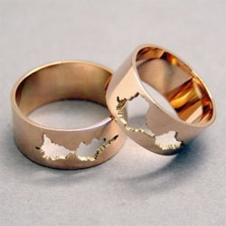 "Sakurako Shimizu creates custom jewelry based on audio waveform. These particular wedding bands were each based on a recording of the bride and groom saying ""I do""."
