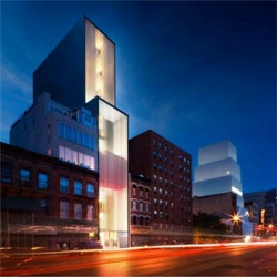 Foster & Partners' new Sperone Westwater Gallery - slated for construction on Bowery near to the New Museum. Included in the design is a 'moving room' that will oscillate between the lower galleries and the lobby floor.