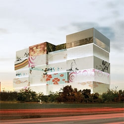 Oppenheim Architecture's design for the Vault - an art storage facility for Artemundi & Company in Miami. The facade will display artwork by emerging and established artists.