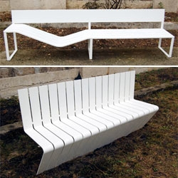 Designboom rounds up a selection of outdoor furniture displayed at the 'Cour des H' at the 	 Saint Etienne Biennale '08. Above: Soft Bench by Lucile Soufflet (top) and Répétition by Régis Bigot and Gaëtan Grenier (bottom).