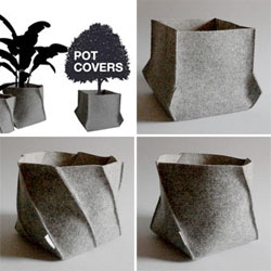 Imegadito's felt Pot Covers dress up your house plants and protect your furniture from scratches.
