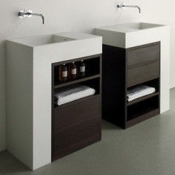 'Elle' system by Italian firm Rapsel. A bathroom cabinet that incorporates a sink and storage in a single Corian and wood module. Compact and contemporary.