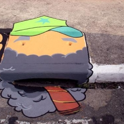 Street art in Sao Paolo - the 6emeia project uses mostly storm drains for their creations in transforming the daily life in the city.