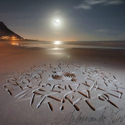 African beach calligraphy doodles by Andrew van der Merwe