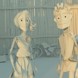 11 Paper Place is a love story about two 8.5 x 11 sheets of paper that magically transform into paper people as they are spit out of a malfunctioning printer into a recycling bin.