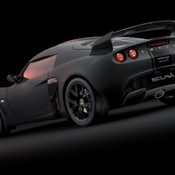 The 2010 Lotus Exige Scura aka Stealth is debuting at the Tokyo Motor Show. It features matte black paint with gloss black stripes and carbon-fiber accents. Only 35 examples of this uber-cool limited edition urban racer will be produced.