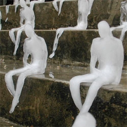 Brazilian artist Nele Azevedo's Melting Men installation. Must have been complicated to make and install...