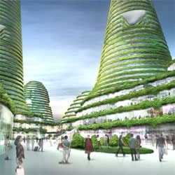 Crazy renderings of MVRDV's winning proposal for the city center of Gwanggyo, a Korean town, which incorporates greenery into the buildings.