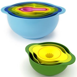 Colorful nesting bowls by Joseph Joseph.