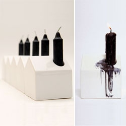 The House Candle Holder by Sonodesign plays on the traditional form of a house, replacing the chimney with a candle.