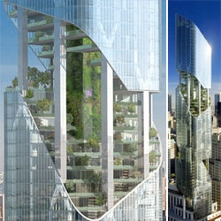 "Daniel Libeskind finally gets to build in NYC - One Madison Avenue is a 54-story condo building that incorporates a series of visible ""sky gardens""."