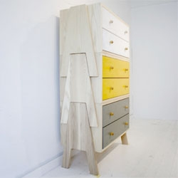 Love Chigo's versatile Tree Stacking Cabinet - three separate cabinets made of white ash that can be used separately or stacked on top of each other.