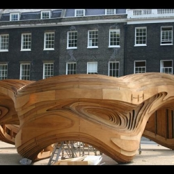 Sneak peek at this year's Architectural Association summer pavilion in Bedford Square, London - due to be unveiled tomorrow.