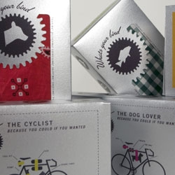 Daniel Blackman designed packaging for Biker's Band, a fictional multi-purpose bike strap company. I like the diagrams that explain the various uses of the straps.