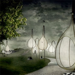 """Kjellgren Kaminsky Architects' """"Silent City"""" proposal for the 1976 Tangshan Earthquake Memorial Park in China. The swinging lanterns are dispersed throughout the park and are a contemporary interpretation of the traditional Chinese rice lamp."""