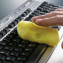 "This Swiss goop (""Cyber Clean"") is a viscous slime that you roll around on your keyboard, so that all the food particles and fingernail parings are swept away, while the germicidal surface de-germifies your icky, filthy, disgusting keyboard."