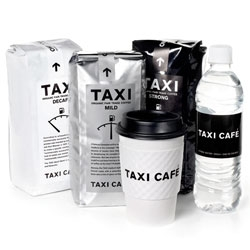 Clean black and white packaging from Taxi for their chain of cafes.