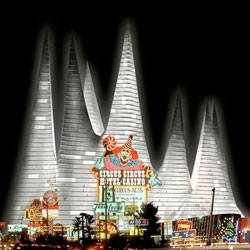 Wow - Julien de Smedt Architects' crazy proposal for the Mondri and Elano Hotel in Las Vegas. In most other locations it would be inappropriate, but in Las Vegas it is reminiscent of the big top circus tents and fits right in with Vegas' surreal architecture.