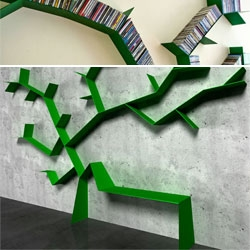 Malus Communis is a shelf designed by Defact Studio - a vine-like shelf for cds and dvds that crawls up the wall.