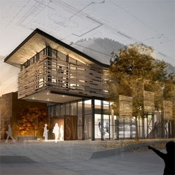 Olson Sundberg Kundig Allen designed the newly relocated Sun Valley Center for the Arts in Ketchum, Idaho. Inspired by Andy Goldsworthy, the building is designed to integrate into the woody surroundings.