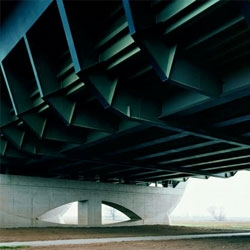 Hans-Christian Schink's Verkehrsprojekte deutsche Einheit project includes beautiful portraits of mundane urban structures such as bridges, highways, etc.