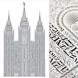 Cameron Moll designed this crazy letterpress poster of the Salt Lake Temple using bazillions of tiny letters to create the image.