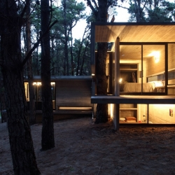 BAK Architects' JD House. A concrete residence in the forest in Buenos Aires, Argentina.