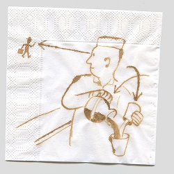 Napkin art by Christophe Niemann in the NYTimes today is smashing, and drawn in coffee!