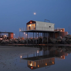 A Room Over the Sea designed by Studio Zero85 is an old 'fishing machine' typical of the Adriatic coast.