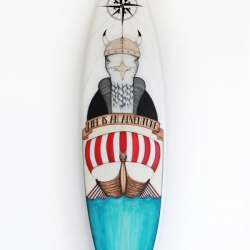 The 'Viking Seagull' surfboard, collaboration between Basque country based artist Daniela Garreton, Rip Curl and Posca.